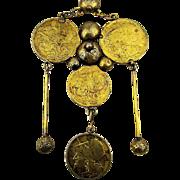 Vintage Greek Athena Coin Handmade Ethnic Pendant Necklace GF Chain