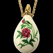 Vintage Porcelain Perfume Bottle Pendant Necklace - Rose - G.F.