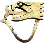 Mexican Sterling Silver Quetzalcoatl Serpant Key Ring Articulated Tongue Fob