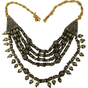 Old Tribal Heavy Metal Ornate Beads Necklace