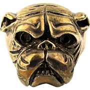Sterling Silver BULLDOG Ring Fierce Detailed Face