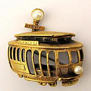Signed Tortolani San Francisco Trolley Pin Brooch Figural 1950s