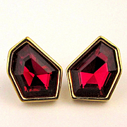Swarovski Red Crystal Post Earrings Quirky Shape Faceted Glow