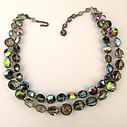 c1950s Two Strand Aurora Borealis Crystal Necklace - So Twinkly Nice