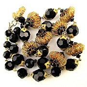 Vendome Black Crystal Bead Necklace w/ Gilt Wire Coil Beads