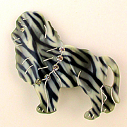 French Celluloid / Lucite Dog Pin w/ Rhinestone Collar