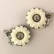 Signed Crown TRIFARI Daisy Flower Enamel Earrings