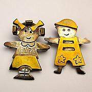 Taxco Sterling Silver Pin - Pendant Set Figural Boy Girl Kids