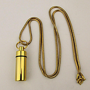Vintage Perfume Bottle Encased in Goldtone Pendant Necklace