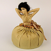 Big Art Deco Pincushion Doll w/ Hair - French Boudoir Style