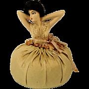 Big Art Deco Pincushion Doll w/ Hair - French Boudoir Style