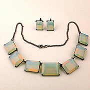 Vintage Opaline Glass Sterling Silver Necklace Earrings Set