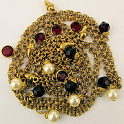 Long Swarovski Gilt Necklace Chain w/ Faux Pearls n Ruby Crystals Swan Mark
