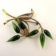 1950s Gilt Filigree Pin - Branch of Green Jade Flower Buds