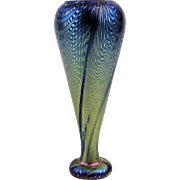 Miniature Hand-Blown Electric Blue Iridescent Art Glass Vase Signed