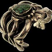 Old Heavy Sterling Silver Sand Cast Navajo Cuff Bracelet w/ Turquoise 100 Gr.