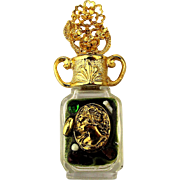 Fancy ADRIAN Miniature Perfume Bottle Jeweled Gilded in Box