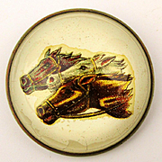 Old Victorian Horse Bridle Rosette Pin - Racing Horses
