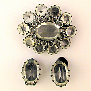 Austrian Clear Crystal Pin Brooch w/ Clip Earrings Set
