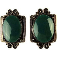 Signed ACE Mexican Sterling Silver Earrings Big Green Onyx Stones