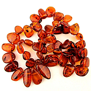 Long Russian Baltic Amber Necklace - Polished Golden Lozenge Beads
