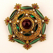Signed ART Pin Brooch Ornate Victorian Style Jeweled Gem