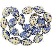 Vintage Chinese Porcelain Hand-Painted Bead Necklace BIG Beads