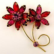 Delightful Red n Pink Rhinestone Flower Pin Daisy Duo
