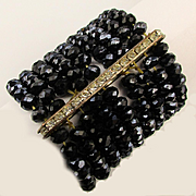 Jet Black Crystal Bead Stretch Bracelet - 9 Rows of Wide Sparkle