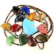 Zuni Fetish Necklace w/ Carved Bear Gemstones