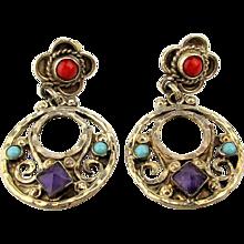 Taxco MATL M. Regis Sterling Silver Earrings w/ Gems Mexican