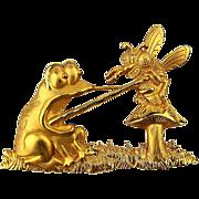 Signed J.J. Jonette Jewelry Pin - Mad Bug w/ Startled Frog