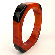 c1930s Orange Swirl Bakelite Bangle Bracelet w/ Black Corners