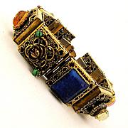 Big Box Link Gilt Filigree Bracelet w/ Colorful Jewels Stones Glass