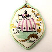 Vintage Rosenthal Porcelain Sterling Pendant Necklace Poufy Gown