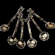 Set 6 Fine Japanese 950 Sterling Silver Spoons - Salt or Demitasse Miniature