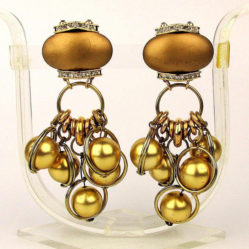 Big Vintage Clip Earrings - Gilt Ball Dangles Rhinestones