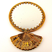 Fancy Old Germany Hand FAN Pocket Mirror 2-Sided Art Deco