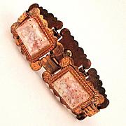 Vintage Copper Bracelet w/ Lucite Flecked Stones