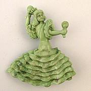Chiquita Shakes Maracas Old Plastic Pin Brooch