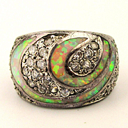 Estate Sterling Silver Opal Diamond Ring Wide & Sparkly
