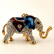 Patriotic Rhinestone Elephant Pendant Necklace Figurine