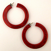 Big Marbled Orange Bakelite Hoop Earrings Pierced