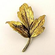 Vintage TILIA Danish Sterling Silver Gilded Leaf Pin Brooch