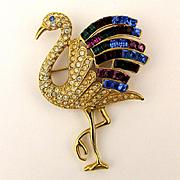 Signed GIORGIO Rhinestone Flamingo Pin Brooch