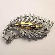 Vintage 1950s KIGU of London Marcasite Floral Pin Brooch