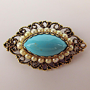 Pretty Vintage Pin Brooch Pendant w/ 13% 14K Gold Content