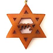Old Carved Bakelite Jewish Star of David Pendant Necklace 12K G.F. Chain