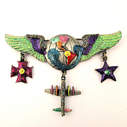 Vintage J.J. Jonette WINGS Pin w/ Airplane Earth - Sparkles Too