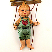 Old Miniature Ceramic Hand-Painted Puppet Marionette Boy Doll